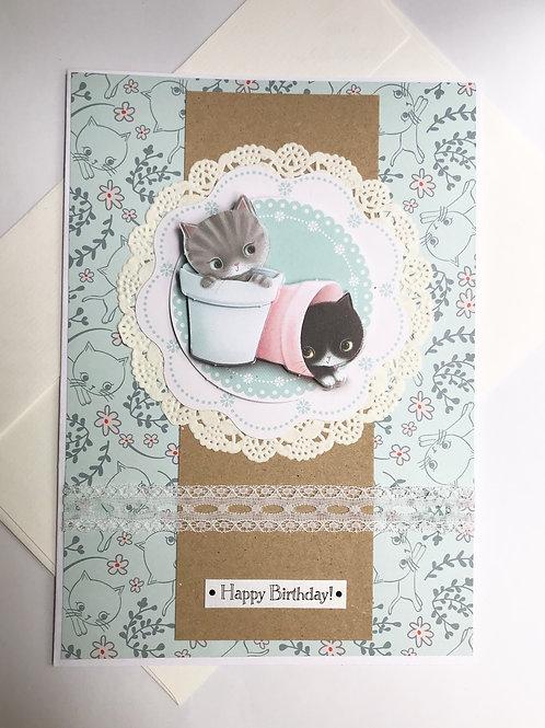 Flower Pot Cats - Cute Kitten Birthday Card