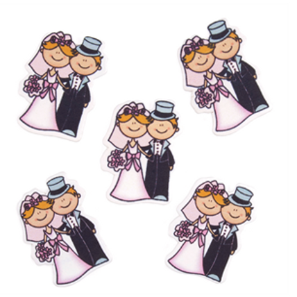 Wooden Bride & Groom Embellishments