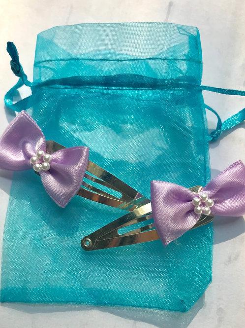Purple Vertical Ribbon Hair Clips