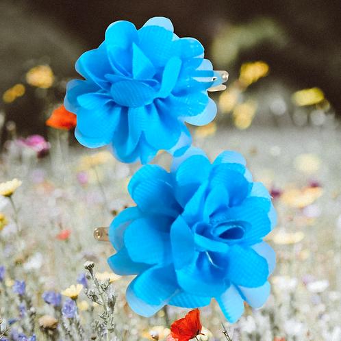 Blue Frill Flower Hair Clips