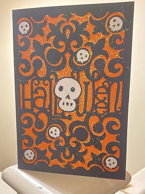 Orange and Black Halloween Skull Card