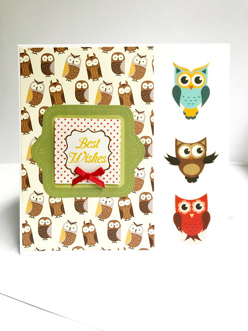 Best Wishes Owl Card