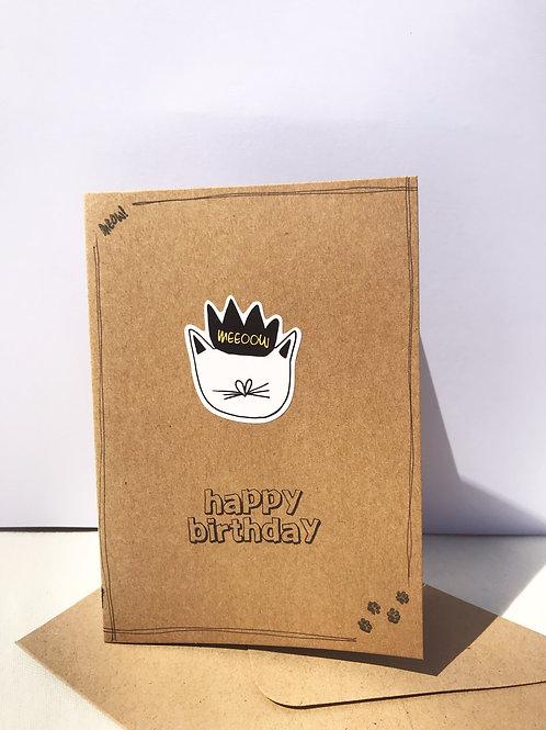Happy Birthday Card - Kingly Cat