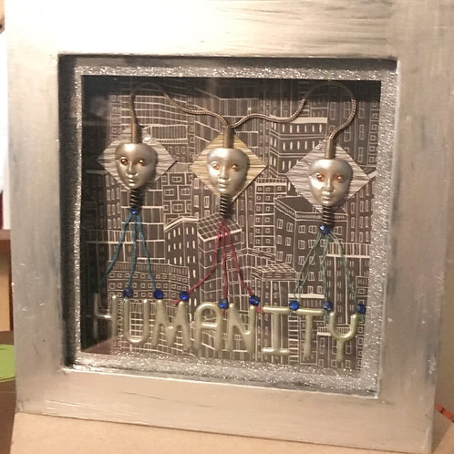 Silver Android Futuristic Humanity Framed Art