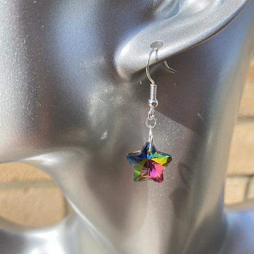 Coloured Star Dangle Earrings