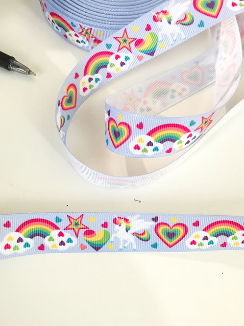 Rainbow Unicorn Grosgrain Ribbon (by the metre)