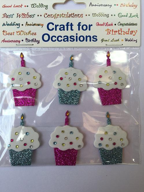 Blue & Pink Cupcake Embellishments