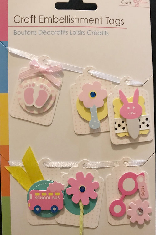 Pink Baby Craft Tags