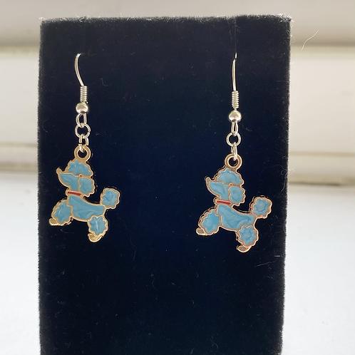 Blue Poodle Earrings