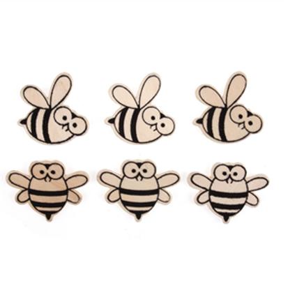 Wooden Bee Embellishments