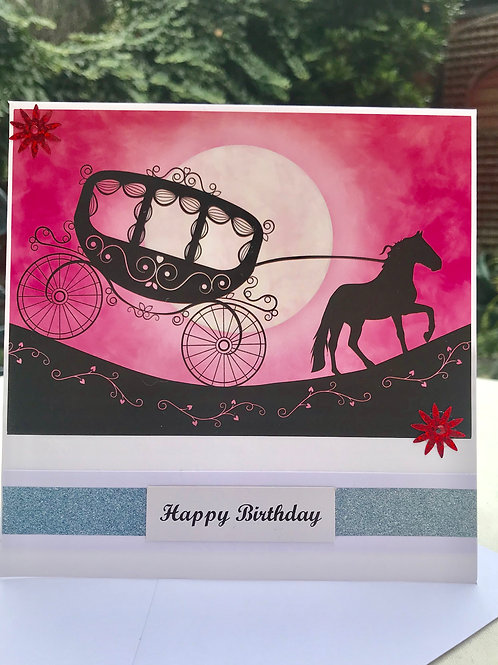 Fairytale Twilight Horse and Carriage Birthday Card