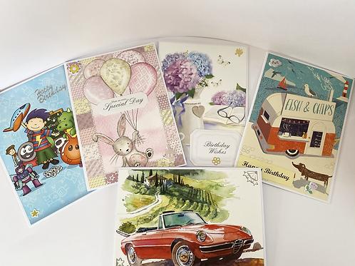 Handmade Cards Multipack (5 cards) - Birthday Value Range (No. 5)