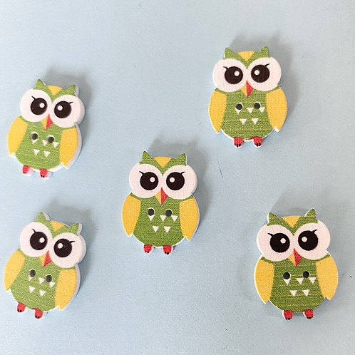 Pack of 5 Owl Buttons - Green & Yellow