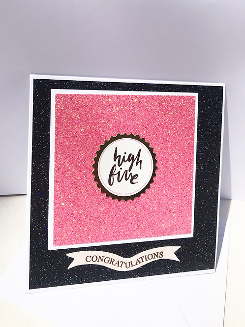 High Five Pink and Black Congratulations Card
