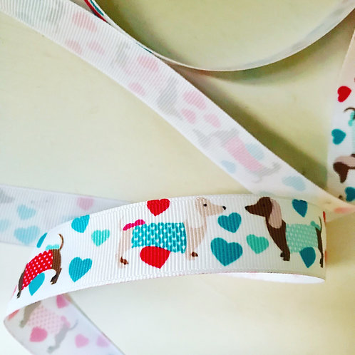 Dachshund & Hearts Grosgrain Ribbon