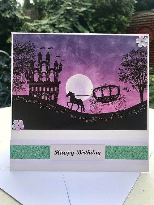 Purple Twilight Fairy Palace Birthday Card