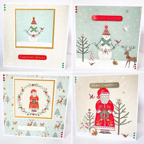 Snowman & Santa Christmas Cards - Pack of 4