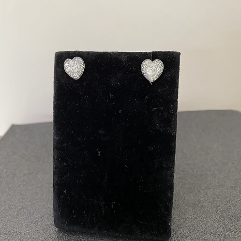 Silver Glitter Heart Earrings