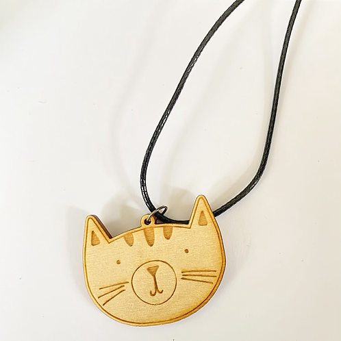 Wooden Cat Face Necklace