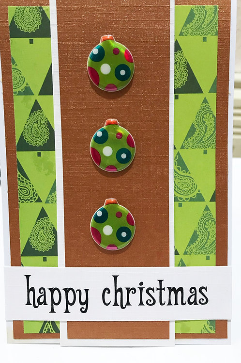 Green retro inspired Christmas Card