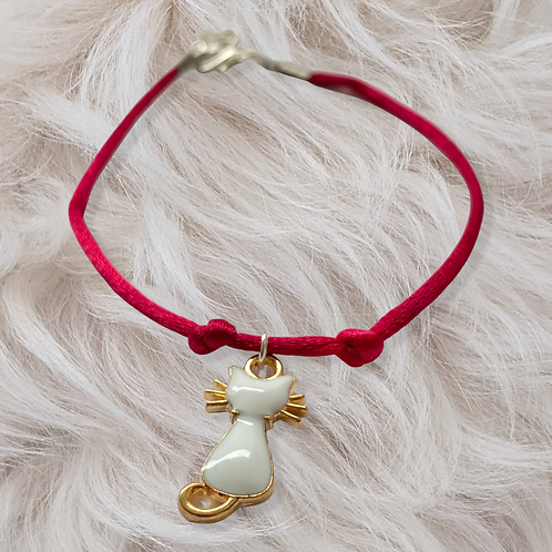 Pink Bracelet with White Cat
