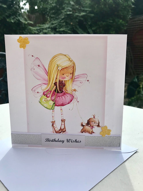 Fairy and Puppy Birthday Card