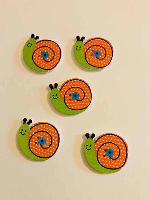Snail Buttons - Green & Orange
