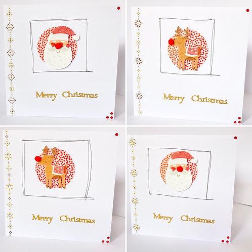 Cute Santa & Reindeer Christmas Cards - Pack of 4