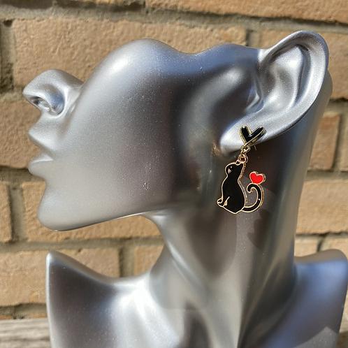 Black Cat Love Earrings