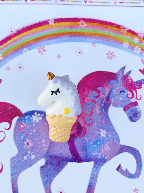 Unicorn Ice Cream Cone Pin Badge - Purple