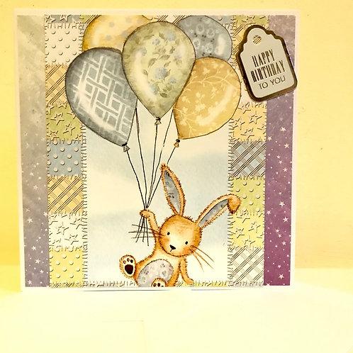 Birthday Balloon Bunny card