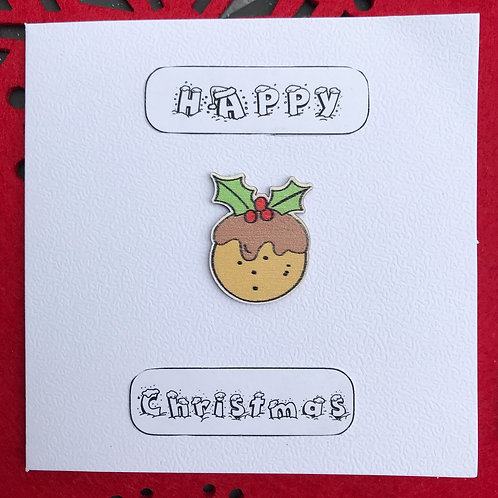 Happy Christmas Pudding Cards (Pack of 5)