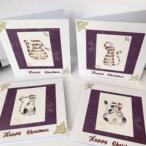 Christmas Cats Cards (4pk)