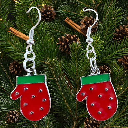 Red Mittens Christmas Earrings