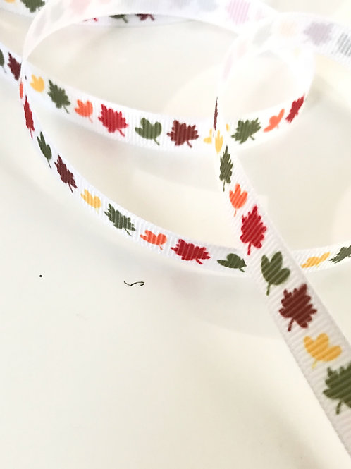 Leaves Grosgrain Ribbon (by the metre)