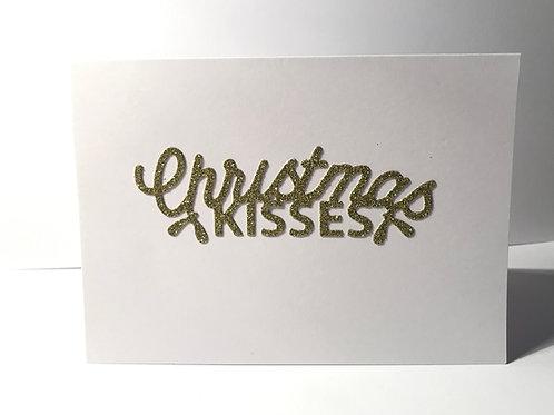 Christmas Kisses Glitter Christmas Card
