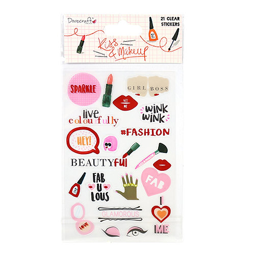 Dovecraft Kiss & Makeup Clear Stickers
