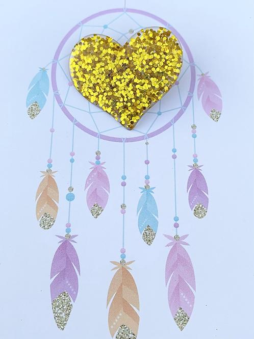 Glitter Heart Pin Badge - Gold