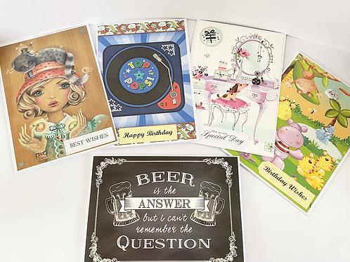 Handmade Cards Multipack (5 cards) - Birthday Value Range (No. 2)