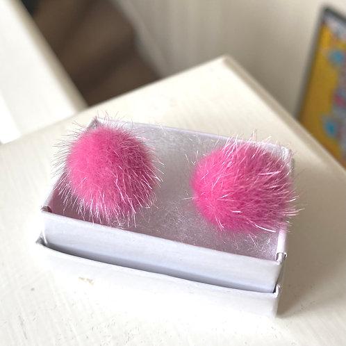Pink Furry Stud Earrings