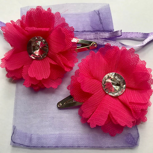 Sparkly Gem Flower Hair Clips (Pink)