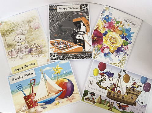 Handmade Cards Multipack (5 Cards) - Birthday Value Range (No.6)