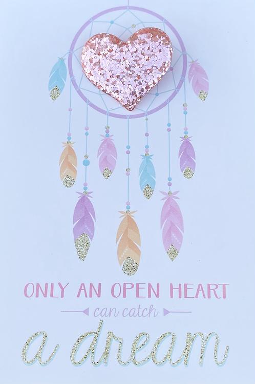 Glitter Heart Pin Badge - Pink