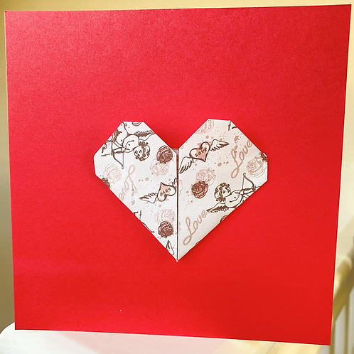 Red Origami Cupid Heart Card