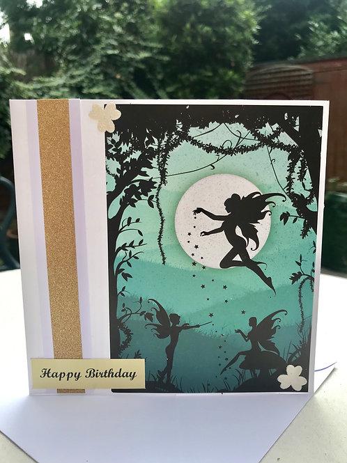 Green Twilight Fairy Dust Birthday Card