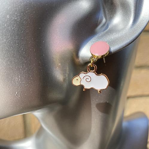Pink Stud Sheep Earrings