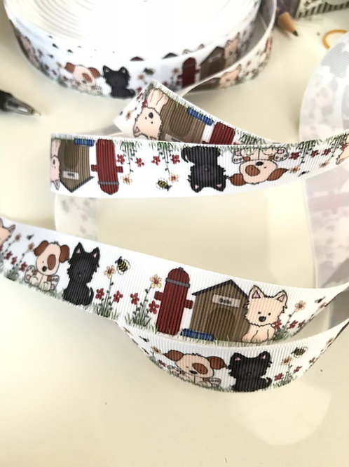 Puppy Dog Grosgrain Ribbon (by the metre)