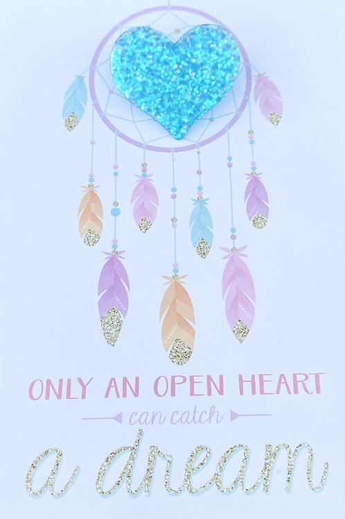 Glitter Heart Pin Badge - Blue