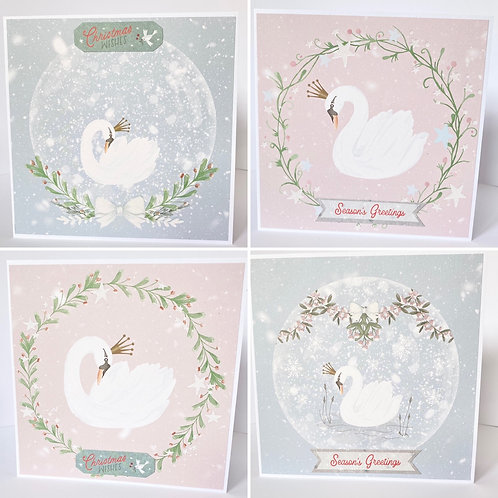 Beautiful Winter Wishes Swans Christmas Cards - Pack of 4