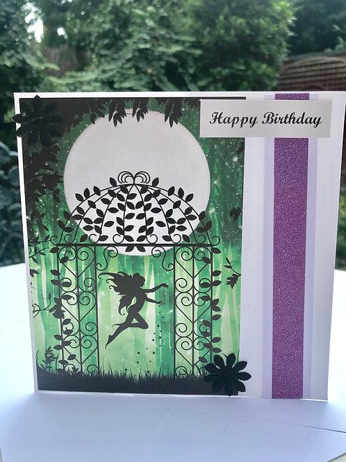 Green Twilight Garden Fairy Birthday Card